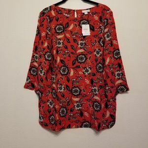 J. Jill tomato red floral print blouse/tunic